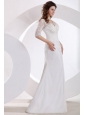 V-neck Column Appliques Long Wedding Dress with Half Sleeves