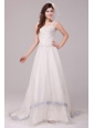 Wide Straps Appliques Decorate Wedding Dress with Court Train