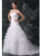 A-line Strapless Organza Wedding Dress with Flower and Ruffles Layered