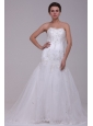 A-Line Sweetheart Tulle Appliques Tulle Wedding  Dress with Court Train