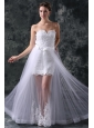 Column Sweetheart Appliques Tulle Detachable Skirt Wedding Dress