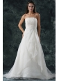Elegant A-Line Ruching Organza Wedding Dress with Court Train