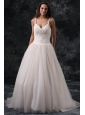 Fashionable A-Line Straps Appliques Tulle Wedding Dress in Champagne