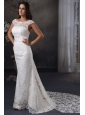 Luxurious Column Scoop Lace Wedding Dress with Watteau Train