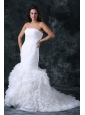 Mermaid Strapless Organza Court Train Ruching and Ruffles Wedding Dress