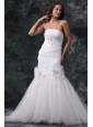 Mermaid Strapless Ruching Lace Up Tulle White Wedding Dress