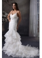 Mermaid Straps Lace Up Organza Ruching Wedding Dress