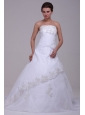Strapless Court Train Organza Appliques Lace Up Wedding Dress