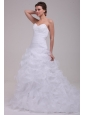 Sweetheart A-line Appliques and Ruffles Court Train Wedding Dress