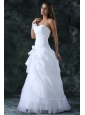 Sweetheart Column Ruche Decorate Floor-length Wedding Dress