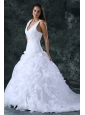 V-neck Appliques and Ruffles Sweep Train Organza Wedding Dress