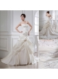 Puffy Strapless Appliques and Pick-ups Wedding Dress with Court Train