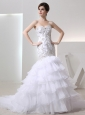 2014 Popular Mermaid Sweetheart Ruffled Layers Wedding  Dress with Lace