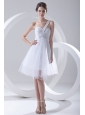 2014 Spring A-line One Shoulder Beading and Ruching Organza Wedding Dress