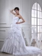2014 Spring A-line Sweetheart Ruching Ruffled Layers White Wedding Dress