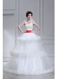 2014 Spring Beautiful Ball Gown Strapless Beading Ruffled Layers Chapel Train Wedding