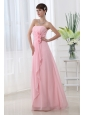 A-line Strapless Hand Made Flowers Chiffon Baby Pink Prom Dress