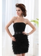 Black Column Strapless Sleeveless Mini-lengthProm Dress with Beading and Ruching