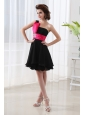 Black Lovely Prom Dress with A-line One Shoulder Chiffon Belt
