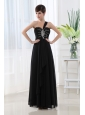 Empire Beading Chiffon Black One Shoulder Prom Dress