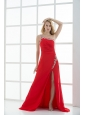 Empire One Shoulder Prom Dress with Beading and Ruching