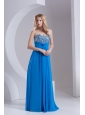 Empire Sweetheart Chiffon Beading Deep Sky Blue Prom Dress