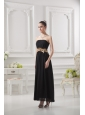Empire Strapless Belt Black Ruching Ankle-length Prom Dress