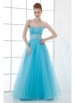 2014 Tulle A-line Sweathert Beading Baby Blue Belt Prom Dress