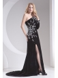 Column Black One Shoulder Beading High Slit Special Fabric Prom Dress