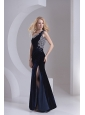 Column Navy Blue One Shoulder Appliques Sleeveless Prom Dress