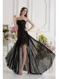 Column Seetheart Chiffon Beading Appliques High Slit Black Prom Dress