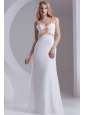 Column Straps Chiffon Appliques and Ruching White Prom Dress