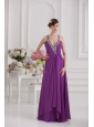 Eggplant Purple Empire V-neck Criss-cross Prom Dress with Beading