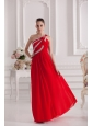 Empire One Shoulder Floor-length Beading Red Prom Dress