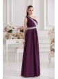 Empire One Shoulder Floor-length Beading Ruching Purple Prom Dress