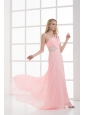 Empire One Shoulder Floor-length Chiffon Light Pink Prom Dress