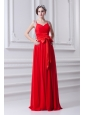 Empire Red Straps Chiffon Prom Dress with Beading and Bowknot