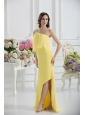One Shoulder Column Ruching and Beading Prom Dress in Yellow