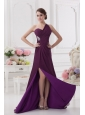 One Shoulder Empire Ruching and High Slit Backless Prom Dress