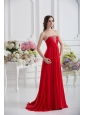 Strapless Empire Beading Ruching Prom Dress with Red