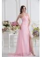 Straps Baby Pink High Slit and Ruching Empire Prom Dress with High Slit