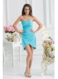 Sweetheart Mini-length Beading Chiffon Aqua Blue Ruching Prom Dress