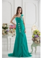 Turquoise One Shoulder Beading and Ruching Prom Dress with Brush Train