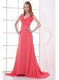 Watermelon Red Empire V-neck Court Train Ruching Prom Dress