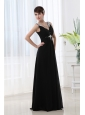 Empire Chiffon Floor-length V-neck Black Beading And Ruching Prom Dress