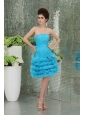 Organza Baby Bule Prom Dress with Ruffled Layers Bowknot Strapless A-line