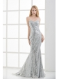 Sweetheart Sleeveless Silver Mermaid Brush Train Prom Dress with Sequins