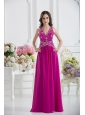 V-neck Empire Floor-length Prom Dress in Fuchsia with Appliques