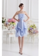 Lavender Strapless Short Taffeta Evening Dress With Bowknot,Silhouette: ShortNeckline: StraplessWaist: FittedHemline/Train: Knee-lengthSleeve Length: SleevelessEmbellishment: Ruching,Pick Up,BowknotBack Detail: Side ZipperFully Lined: YesBuilt-In Bra: YesFabric: TaffetaShown Color: Lavender(Color & Style representation may vary by monitor.)Occasion: Prom, Cocktail, Homecoming, PartySeason: Spring, Summer, Fall