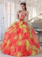 Appliques and Ruffles Organza Multi-color 2013 Quinceanera Dresses